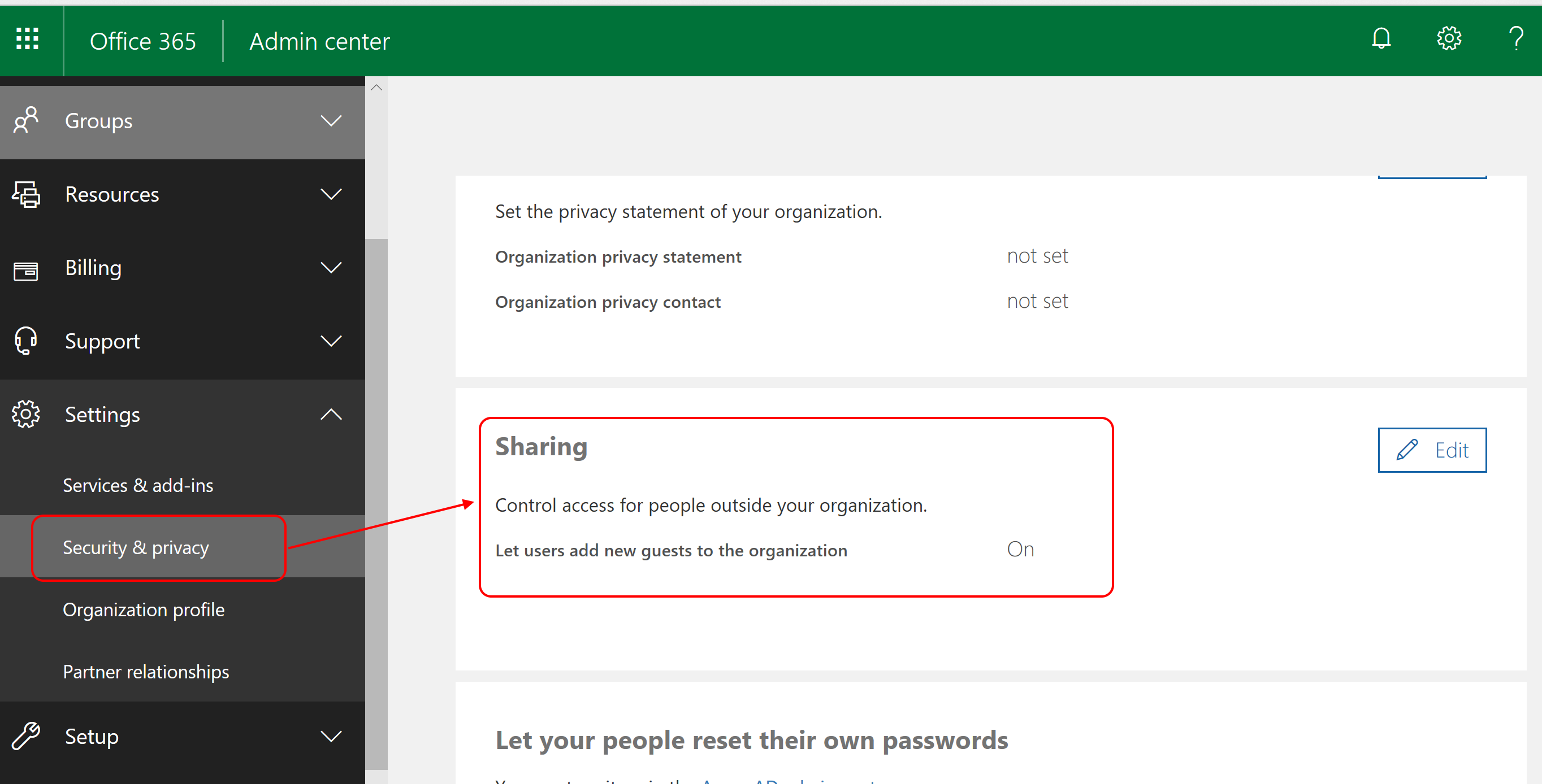 PBI O365 Admin Center - Disable Sharing